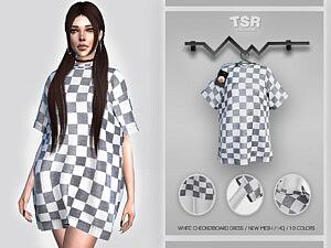 White Checkerboard Dress Sims 4 CC