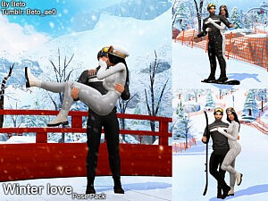 Winter love Pose pack Sims 4 CC