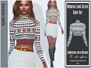 Womens Long Sleeve Crop Top Sims 4 CC