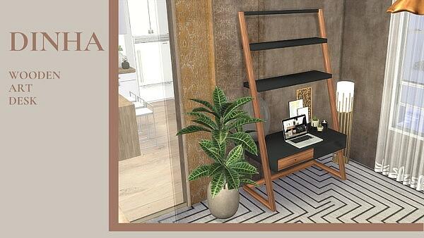 Wooden Art Desk Sims 4 CC