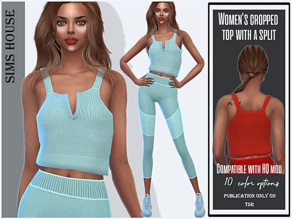 Cropped top with a split by Sims House from TSR