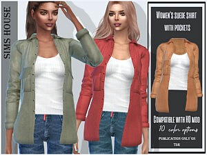 suede shirt with pockets sims 4 cc