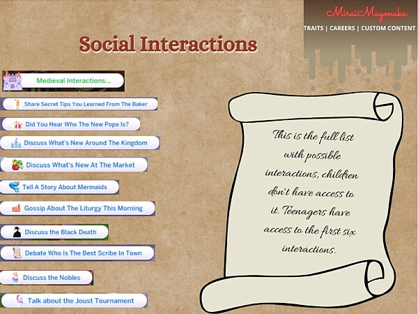 Medieval Interactions 1.0 by MiraiMayonaka from Mod The Sims