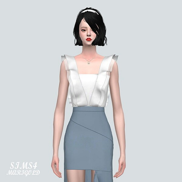SL 5 Flare Blouse from SIMS4 Marigold