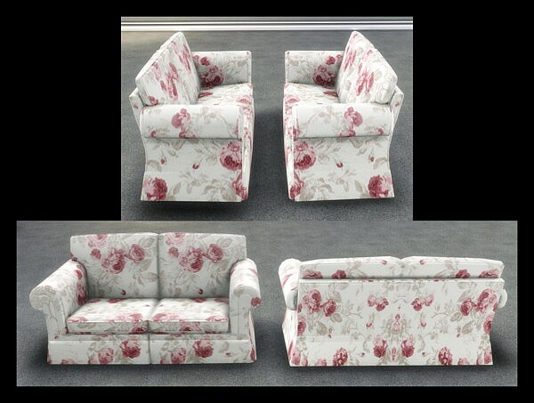 Hipster Hugger Love Seat in Grandmas Roses  by Simmiller from Mod The Sims