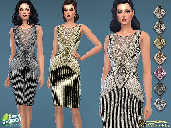 1930s Beaded Sequin Evening Dress sims 4 cc1