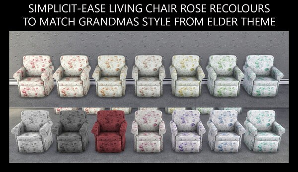 Ease Chair in Grandmas Roses by Simmiller from Mod The Sims