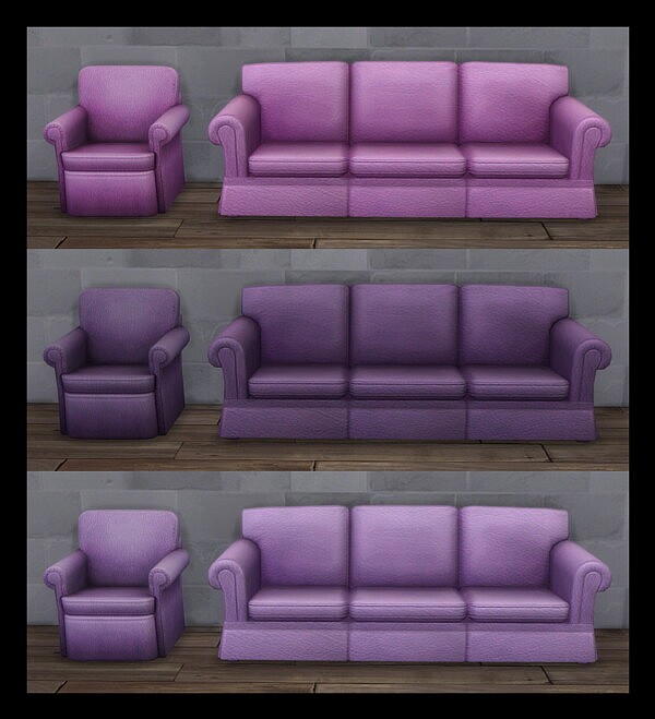Sofa and Living Chair in Matching Leather by Simmiller from Mod The Sims