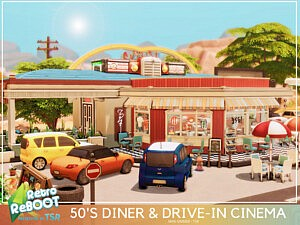 50s Diner and Drive in Cinema sims 4 cc