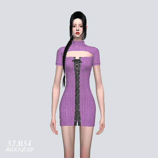 57 Lace Up Mini Dress from SIMS4 Marigold