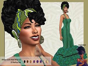 African Curls Head Wrap II Hair sims 4 cc