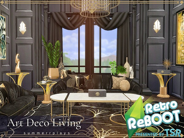 Art Deco Living and Dining Room sims 4 cc
