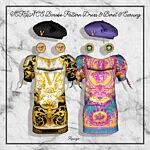 Baroco Pattern Dress Beret and Earrings sims 4 cc
