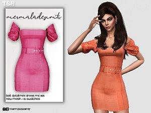 Belt Detail Mini Dress sims 4 cc