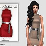 Belt Detail Mini Dress sims 4 cc1
