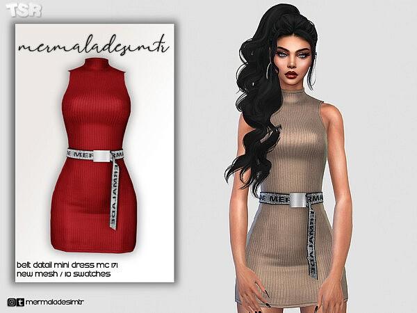Belt Detail Mini Dress MC171 by mermaladesimtr from TSR