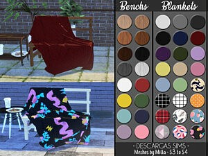 Bench And Blanket sims 4 cc