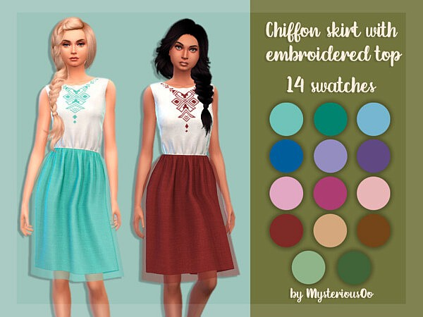Chiffon skirt with embroidered top by MysteriousOo from TSR