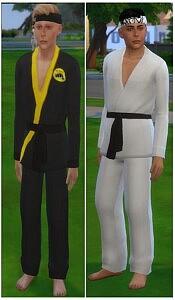Cobra Kai and Miyagi Do Male Outfits with Headbands sims 4 cc