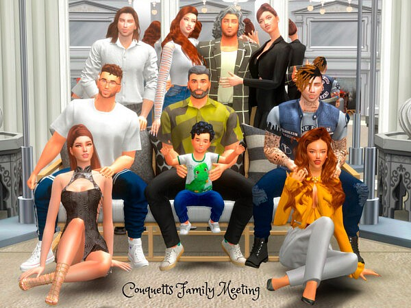 Couquetts Family Meetting PosePack sims 4 cc