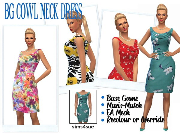 Cowl Neck Dress from Sims 4 Sue