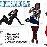 Cropped Slim Leg Jeans sims 4 cc