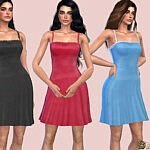 Dainty Lace Trim Satin Dress sims 4 cc