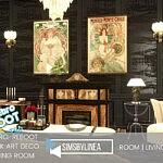 Dark Art Deco Living Room sims 4 cc