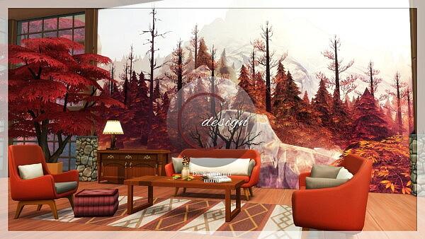 Dark Autumn Mural sims 4 cc