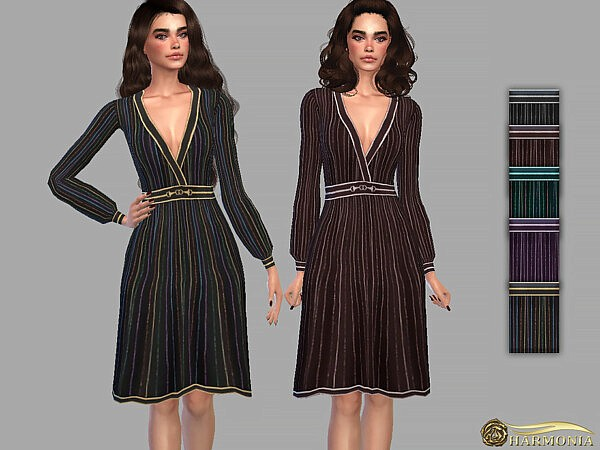 Deep V Neck Antique Dress by Harmonia from TSR