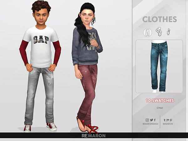 Denim Pants for Child 01 by remaron from TSR