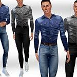 Denim Shirts FullBody Outfit sims 4 cc