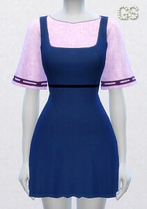 Dress with dungarees sims 4 cc