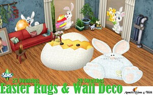 Easter Wall Deco and Rugs sims 4 cc