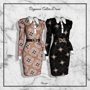 Elegance Collar Dress sims 4 cc