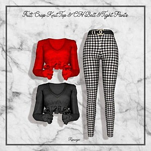 Frill Crop Knit Top CH Belt and Tight Pants