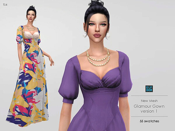 Glamour Gown V1 sims 4 cc
