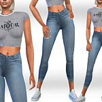 Jeans Outfit sims 4 cc