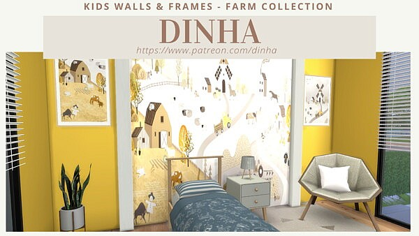 Kids Walls and Frames Farm Collection sims 4 cc