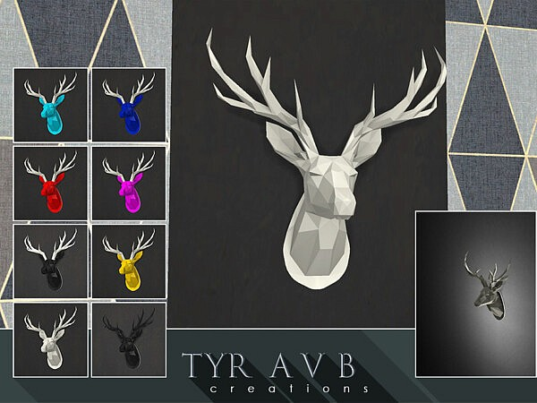 LED backlit Wall Art Origami Deer Head sims 4 cc
