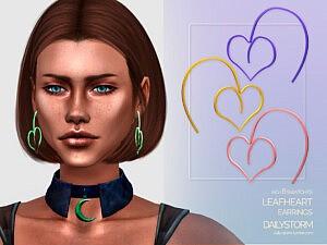 LeafHeart Earrings sims 4 cc