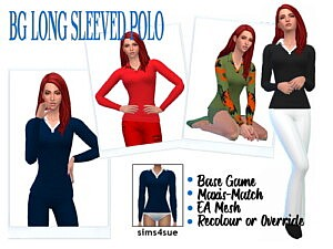 Long Sleeved Polo Blouse sims 4 cc