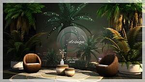 Lucky Palms Mural sims 4 cc