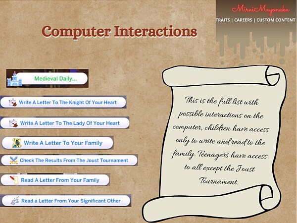 Medieval Interactions 1.0 sims 4 cc