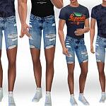 Men Ripped Denim Shorts sims 4 cc