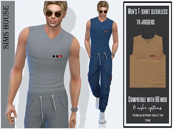Mens T shirt sleeveless to joggers sims 4 cc