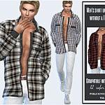 Mens shirt unbuttoned without a T shirt sims 4 cc