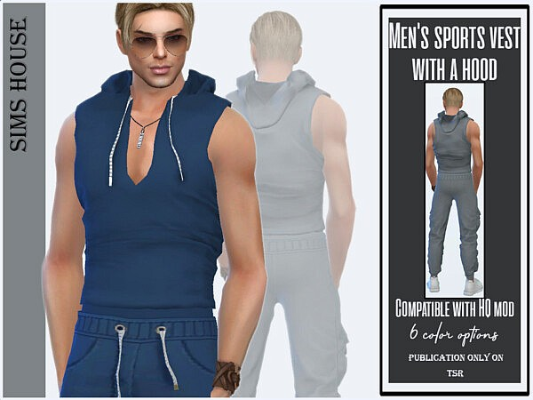 Mens sports vest with a hood sims 4 cc