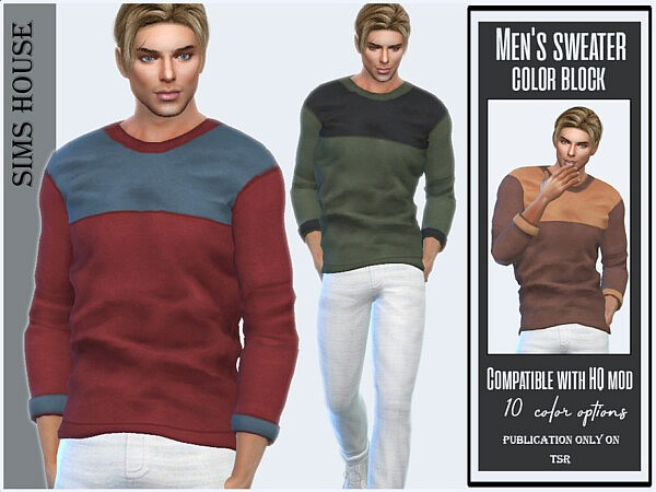 Mens sweater color block by Sims House from TSR