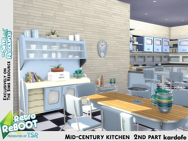 Mid century kitchen 2nd part sims 4 cc